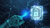 Cyber Security Data Protection Business Technology Privacy Concept. Select The Icon Security On The poster