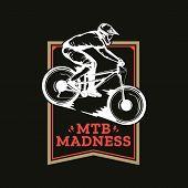 Vector Mountain Biking Badge Design poster