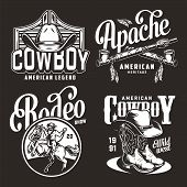 Monochrome Vintage Wild West Prints With Crossed American Indian Smoking Pipes Cowboy Hats Boots Rid poster