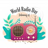 Banner International Flat Day Radio Isolated. Pink Radio Receiver In Nature. poster