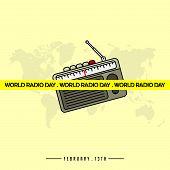 World Radio Day Vector Illustration With Radio Template Design poster