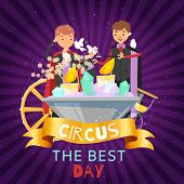 Children Juggle With Doves And Crystals On Circus Party Background Vector Illustration. Happy Kids A poster