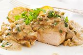 stock photo of champignons  - Chicken steak with mushroom cream sauce - JPG