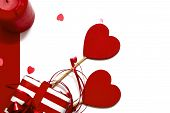 Greeting Card  With Wooden Red Hearts, A Gift Box Of Red And White Paper, A Confetti Of Hearts On A  poster