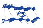 stock photo of israeli flag  - Waving Israeli flag under a grunge texture layer - JPG