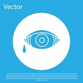 Blue Reddish Eye Due To Viral, Bacterial Or Allergic Conjunctivitis Icon Isolated On Blue Background poster