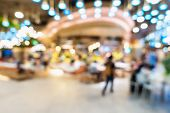Abstract Blurred Food Court In Department Store, Defocused Blur Table Dining In Shopping Mall. Motio poster