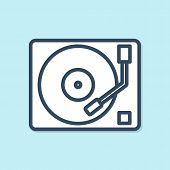 Blue Line Vinyl Player With A Vinyl Disk Icon Isolated On Blue Background. Vector Illustration poster