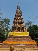 Old Pagoda In Temple Northern Of Thailand, Ancient And Lanna Style poster