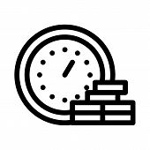 Watch Coin Heap Icon Vector. Outline Watch Coin Heap Sign. Isolated Contour Symbol Illustration poster