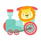 Funny Lion With Thick Mane Riding On Train Vector Illustration poster