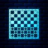 Glowing Neon Board Game Of Checkers Icon Isolated On Brick Wall Background. Ancient Intellectual Boa poster