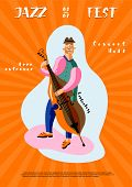Jazz Fest Leaflet Template. Double Bass Player Cartoon Character. Professional Musician Playing Stri poster