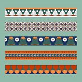 Egyptian Traditional Ornament. Borders With Floral Ornament. Ancient Traditions. Vector. poster