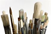 stock photo of paint brush  - Old artistic abluted paintbrushes on white background - JPG