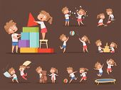 Brother And Sister Games. Kids Playing Together Jumping Running Family Playful Characters Boy And Gi poster