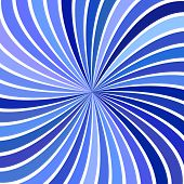 Blue Psychedelic Geometrcial Spiral Stripe Background - Vector Curved Burst Graphic poster