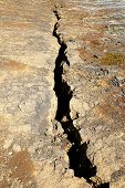 Cracks In The Ground Due To Volcanic Activities At Krafla Lava Field Near Myvatn, Iceland In The Sum poster