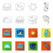 Isolated Object Of Weather And Climate Symbol. Collection Of Weather And Cloud Stock Vector Illustra poster