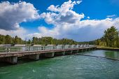 Hochablass (High Drain) Dam on Lech river south of Augsburg, Swabia, Bavaria, Germany, a part of UNE poster