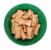 Dog food bowl with dog biscuits shaped like bones treats poster