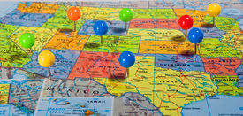 picture of usa map  - Map of the USA with colorful pins at various locations - JPG