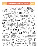 stock photo of conversation  - Hand drawn vector illustration of social media doodles elements - JPG