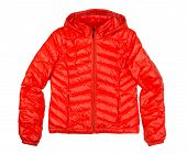 stock photo of down jacket  - orange down jacket isolated on white nobody - JPG