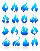 picture of combustion  - Fire flames blue - JPG