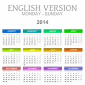 image of august calendar  - Colorful monday to sunday 2014 calendar english version illustration - JPG