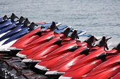 stock photo of jet-ski  - All lined up and ready for fun - JPG