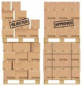 stock photo of pallet  - Cardboard boxes set on a wooden pallet with examples of poor stacking and a good stack of boxes - JPG