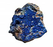 Azurite Cobalt Blue Stone Isolated On White