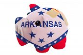 Closed Piggy Rich Bank With Bandage In Colors Flag Of American State Of Arkansas