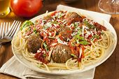 pic of meatballs  - Homemade Spaghetti and Meatballs Pasta with Basil and Marinara - JPG