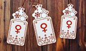 Three Christmas Cards With Woman Sign