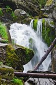 picture of ural mountains  - Waterfall on the river Zhigalan on a ridge Kvarkush in the north of the Ural mountains - JPG
