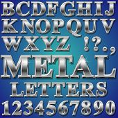 stock photo of chisel  - An Alphabet Sit of Shiny Metal Letters and Numbers - JPG