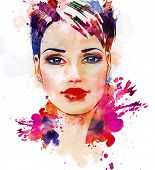 stock photo of diva  - Watercolor fashion illustration of the beautiful young girl - JPG