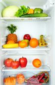 pic of refrigerator  - Vegetables and fruits in open refrigerator - JPG