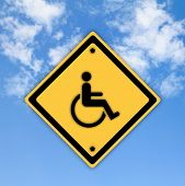 foto of physically handicapped  - Handicap disabled sign on beautiful sky background - JPG