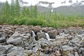 stock photo of taimyr  - Photo waterfall  the Putorana plateau - JPG