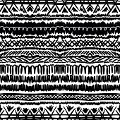 stock photo of pagan  - Ethnic pattern in black and white with ornamental stripes - JPG