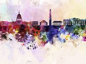 image of washington skyline  - Washington DC skyline in watercolor abstract background - JPG