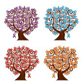 stock photo of leukemia  - vector illustration of a set of awareness ribbons trees - JPG