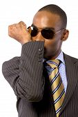 picture of bodyguard  - African American spy or bodyguard in a suit and tie - JPG