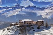 image of hamlet  - Rural house on the hill and vineyards covered with snow in Piedmont - JPG
