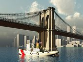 Brooklyn Bridge and Tug Boat in New York