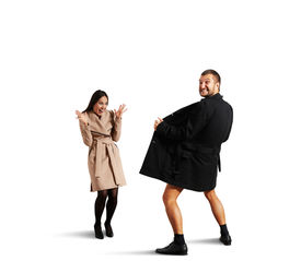 stock photo of exhibitionist  - funny picture of laughing woman and crazy exhibitionist - JPG