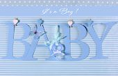 image of girlie  - Its a boy blue theme Baby bunting letters under from pegs on a line for nursery greeting card or baby shower - JPG